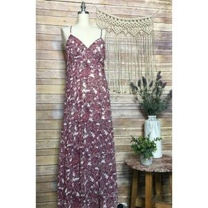 Forever 21 Pink Floral Printed Sleeveless Maxi